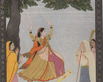 Indian Miniature Painting 1959 printed reproduction - Lady on a Swing