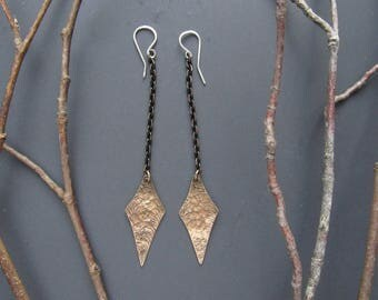 Chain Dangle Earrings Brass Embossed Artisan Metalsmith