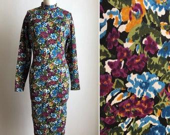 90s floral dress S ~ vintage bodycon dress