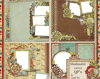 On Sale 50% Shabtastic Digital Scrapbook Kit 12x12 Quick Pages - Digital Scrapbooking