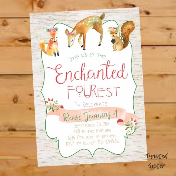 Woodland Invitation Woodland Birthday Invitation Enchanted Forest
