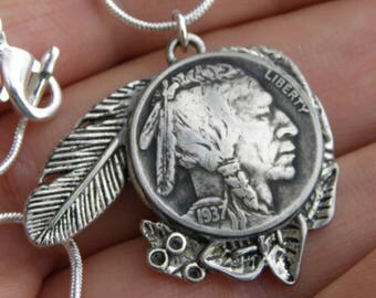 Vintage Authentic circulated readable various  dates US Buffalo Indian Nickel coin handmade Tibetan silver necklace  feather good  gift