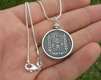 Vintage authentic 1/2 Agorot lira  Israel coin Jewish necklace Menorah nice gift for  Hanukkah