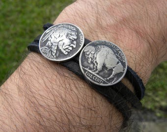 Cuff Bracelet wristband Vintage Buffalo Indian Nickel coin various dates  Buffalo Bison  leather nice gift for Buffalo Bills fan hatband