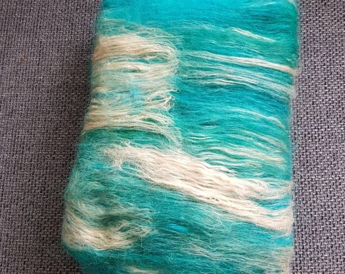 Handgekaarde batt of alpaca and silk to spin-Tropical Beach