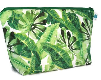Extra Large Cosmetic Bag - Toiletry Bag - Travel Bag - Makeup Bag - Wet Bag - Cosmetic Bag -Accessory Pouch - Tropical Palm Leaves