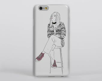 Pink Converse Phone Case iPhone Samsung One Direction Harry Styles Another Man Portrait Drawing Illustration