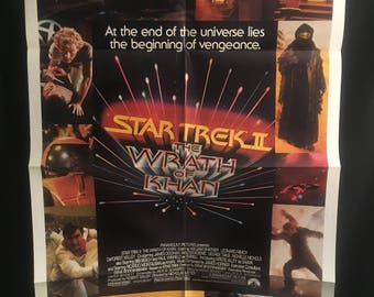 Original 1982 Star Trek 2 The Wrath Of Khan One Sheet Movie Poster, Sci Fi, William Shatner, Leonard Nimoy