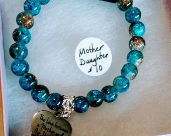 Love Between Mother & Daughter is Forever Beaded Charm Bracelet