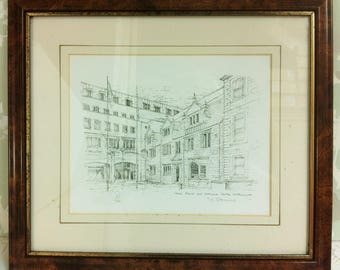 Framed Pen and Ink Drawing of Welsh House Northampton Limited Edition Print