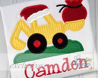 Santa Digger Backhoe Excavator Applique, Santa digger applique, Christmas digger applique, Boy XMAS Tee, Boy Christmas Shirt