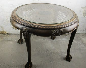 Chippendale Style Carved Wood CoffeeTable Ball & Claw Feet Rush Glass Top Ornate