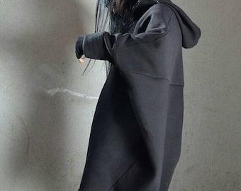 SALE 25% OFF Oversized Maxi Hoodie Sweatshirt Dress - Black Baggy Cape Style Asymmetrical Long Womens Outerwear Top