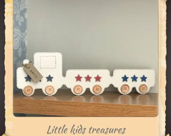 Chunky freestanding wooden train nursery decoration. Free personalised name tag byLittle kids treasures