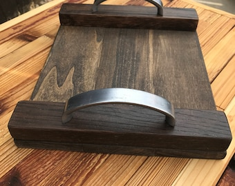 Small Handcrafted Poplar / Walnut Wooden Tray with Reclaimed silver handles