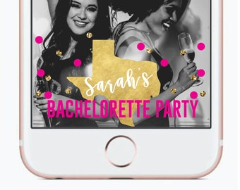 Bachelorette Party SnapChat Filter Geofilter | Bachelorette Party Confetti Texas yes Weekend Bachelorette Custom State Vegas SnapChat Filter