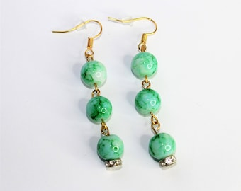 green spotted earrings, green glass beads, green earrings, dangle earrings, glass earrings, beaded earrings, green, green and gold, handmade