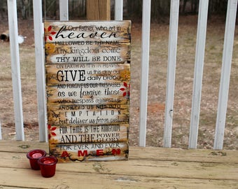 The Lord's Prayer electrified wooden sign