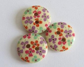 Orange and purple flower pattern wooden button