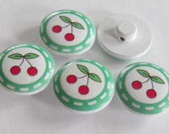 Beautiful round wooden button cherries (set of 3) pattern