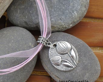 Shabby chic necklace Pink Tulip silver Medallion