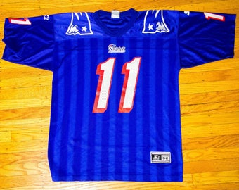 4ff789a47 ... Rare 90s NFL New England Patriots Royal Drew Bledsoe Starter Jersey  size XL ...
