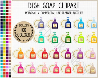 SALE 100 DISH SOAP Clipart Kitchen Stickers Chores Cleaning Icon Washing