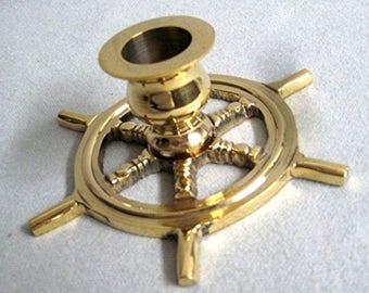 Maritime Candlestick steering wheel 13 cm-solid brass 200 g