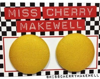 Mustard Yellow Fabric Button Rockabilly 1950's Pin Up Retro Vintage Inspired Stud Earrings By Miss Cherry Makewell
