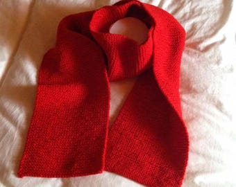 Wool blend hand knitted red scarf