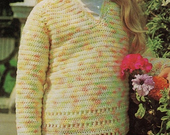 4169S girls jumper crochet vintage pattern PDF instant download