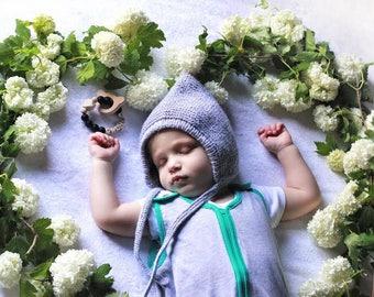 Knit pixie hat Gray pixie bonnet Baby boy pixie hat Newborn pixie hat Newborn boy hat  Baby boy bonnet Knit newborn hat Pixie hat