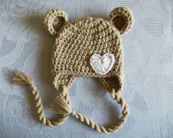 Baby bear hat Custom colors Newborn bear hat Baby hat with ears Baby animal hat Earflap bear hat Winter baby hat  Crochet bear hat