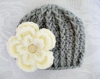 Crochet baby hat Gray newborn hat Newborn girl hat Baby girl hat Newborn girl outfit Newborn girl beanie Newborn winter hat