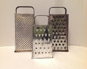 Trio Metal Hand Grater Rusty Repurpose Industrial Steampunk