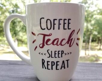 Coffee Mug for Teacher as Gift for School and Education Back to School White, Burgundy, Black