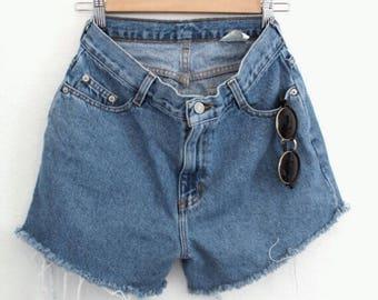 Vintage High Waist Cut Off Shorts - Size 10 - Denim - Shorts