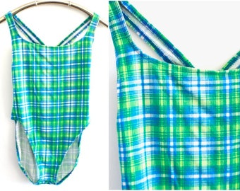 Blue and Green Plaid 90's Cotton One Piece Swimsuit