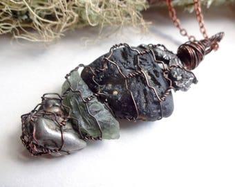 Multi stones necklace-Meteorite jewelry-Campo Del Cielo-Sikhote Alin-Tektite-Moldavite pendant-wrap pendant-Chakra necklaces