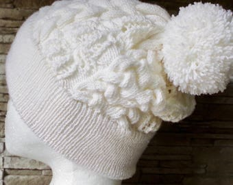 "Cable and lace hat knitting pattern ""Sweet Sixteen"""