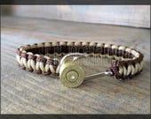 Bullet Bracelet, Fishhook, Anchor, Paracord, Men's, Groomsmen, Country, Tan & Walnut Brown, 100 lb. Cord