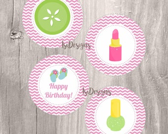 Spa party centerpieces, printable pink spa birthday party centerpieces, INSTANT DOWNLOAD,spa party circles, girl birthday party decoration