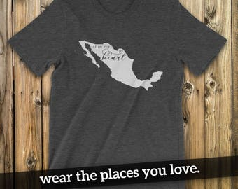 Mexican t shirt etsy mexico is in my heart t shirt unisex t shirt mexico sciox Image collections