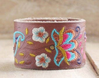 CUSTOM HANDSTAMPED brown leather cuff with stitching by mothercuffer