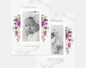 Birth Announcement Template for Photographers - New Baby - Birth Announcement - Baby Girl  - BA022