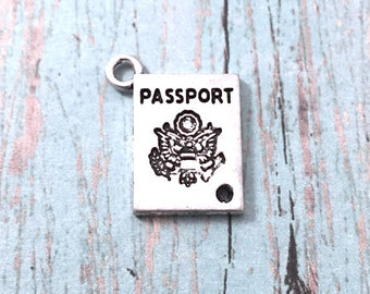 8 Passport charms (1 sided) antique silver tone - silver passport pendants, travel pendants, world traveler charms, globetrotter charms, O2