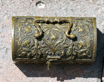 Antique Ornate High Relief Bronze Hinged Jewelry Box with Domed Lid and Handle