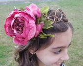 Woodland Fairy Crown- Pearle the Peony Fairy, Pink Flower Hydrangeas, Dark Green Pip Berries, gifts for girls, princess, Easter, Communion