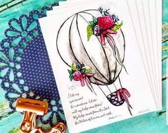 Christian Journaling Cards 3x4 Watercolor Hot Air Balloon Psalm Fly Project Print floral Painting joy lift my eyes life Flower Crown