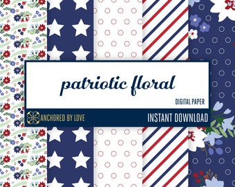 Patriotic Floral scrapbook paper | Flower digital paper | Nautical digital paper | Red White Blue | Stars and Stripes Digital paper